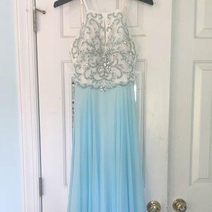 XSCAPE Beaded Halter Prom Dress